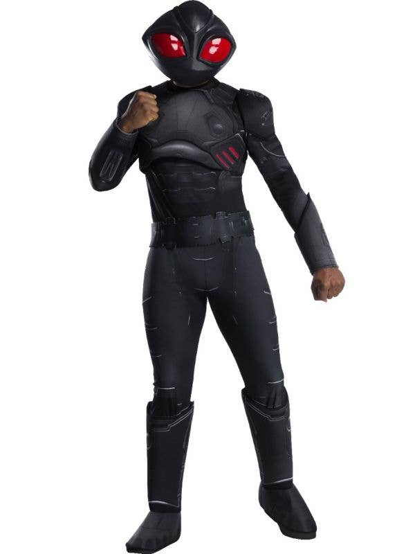 Men's DC Comics Rubie's Black Manta Villain Superhero Black Fancy Dress Costume Main Image