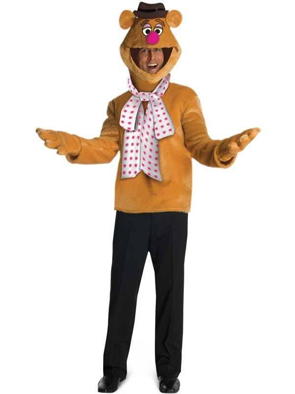 Men's Plus Fozzie Bear Muppets Fancy Dress Costume
