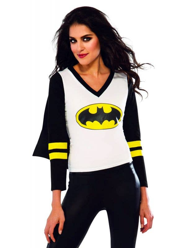 Women's Batgirl Costume Shirt with Attached Black Cape Superhero Fancy Dress Front View