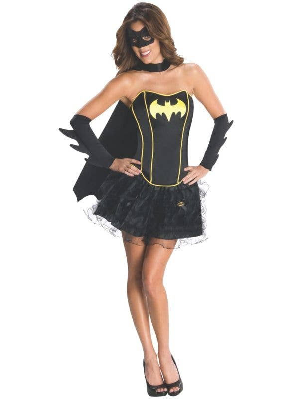 Officially Licensed Sexy Black Women's Batgirl Superhero Fancy Dress Costume Main Image