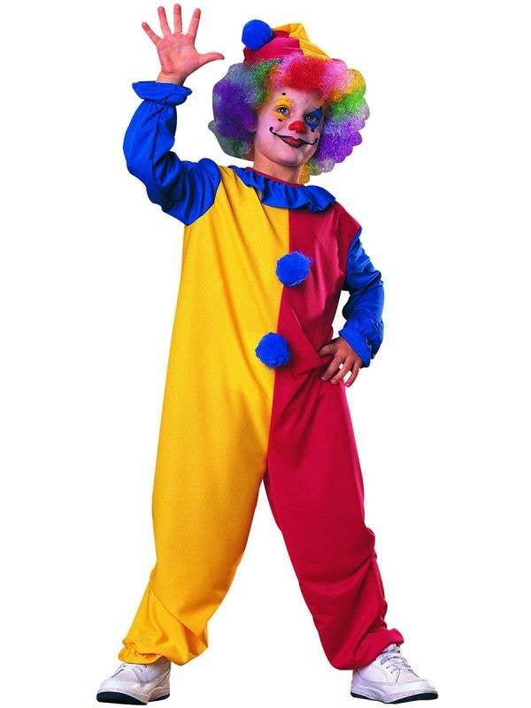 Boys Colourful Clown Circus Fancy Dress Costume