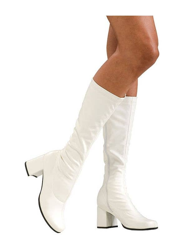 3c0cb2d5b920 Women s White High Heel Go Go Boots Costume Accessory