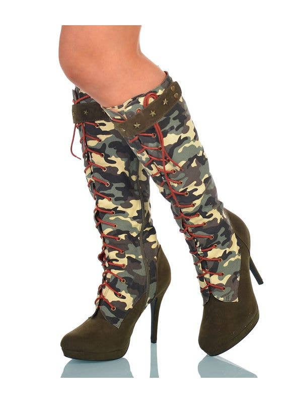 Lace Up High Heel Women s Army Boots 0c4806f0b