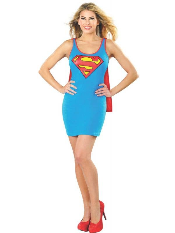 Women's Sexy Blue Slim Fit Tank Supergirl Superhero Costume Dress Main Image