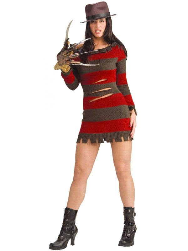 Miss Krueger Women's Halloween Costume  Freddy Krueger Fancy Dress Front Image