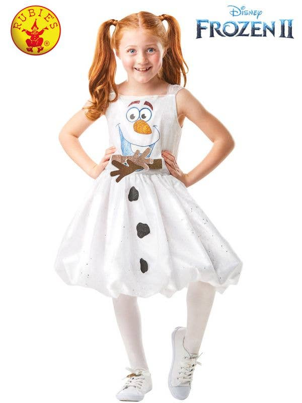Girls Deluxe Frozen 2 Olaf Fancy Dress Costume Front Image