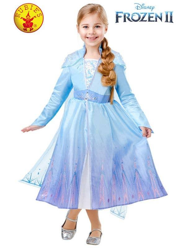 Girls Deluxe Elsa Frozen 2 Fancy Dress Costume Front Image