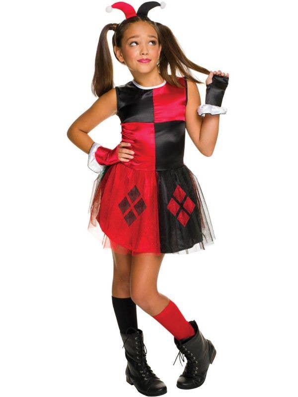 Girls Classic Harley Quinn Superhero Fancy Dress Costume