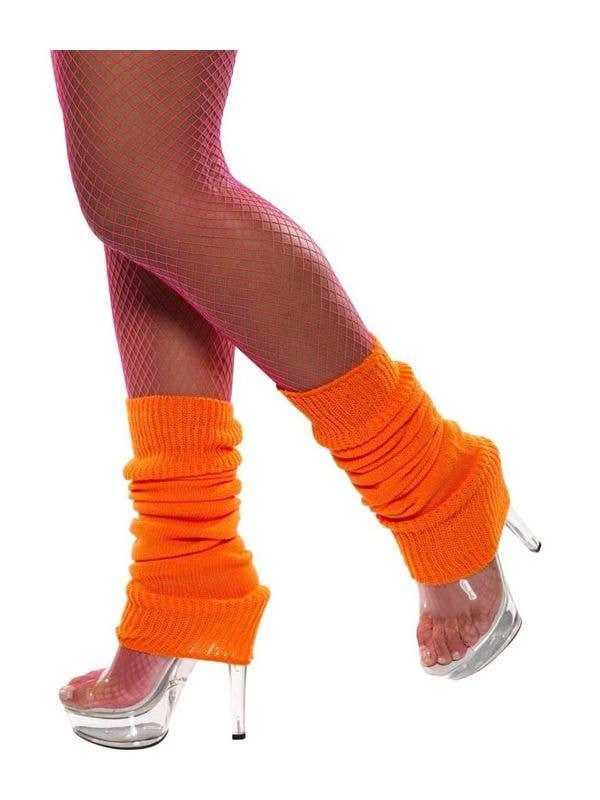 Women's Knitted Neon Orange Flash dance 80's Retro Leg Warmers Costume Accessory Main Image
