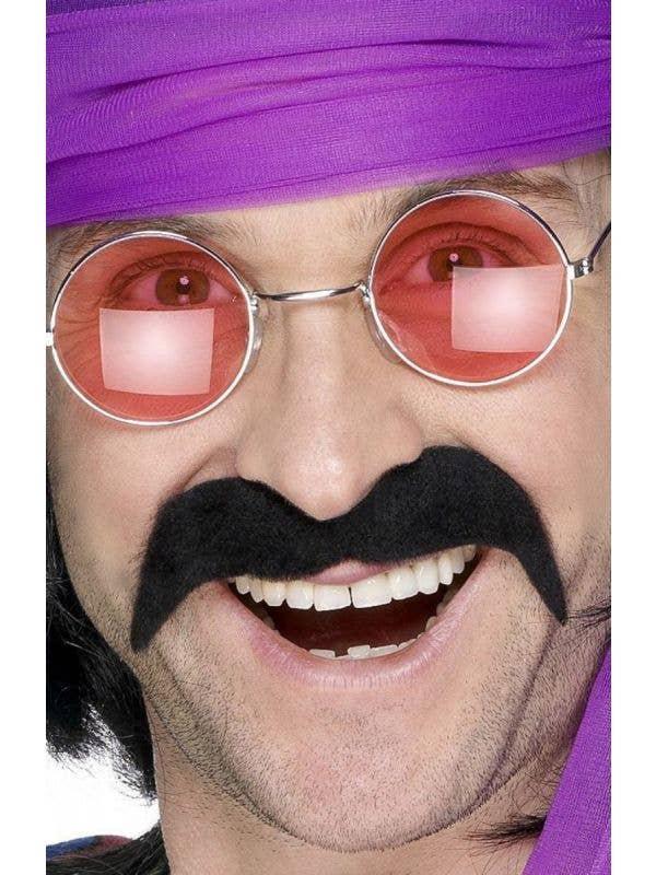 Smiffys Black handle bar style moustache - Main Image