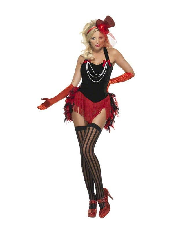 56de762011dec Women s Red and Black Showgirl Costume Front View
