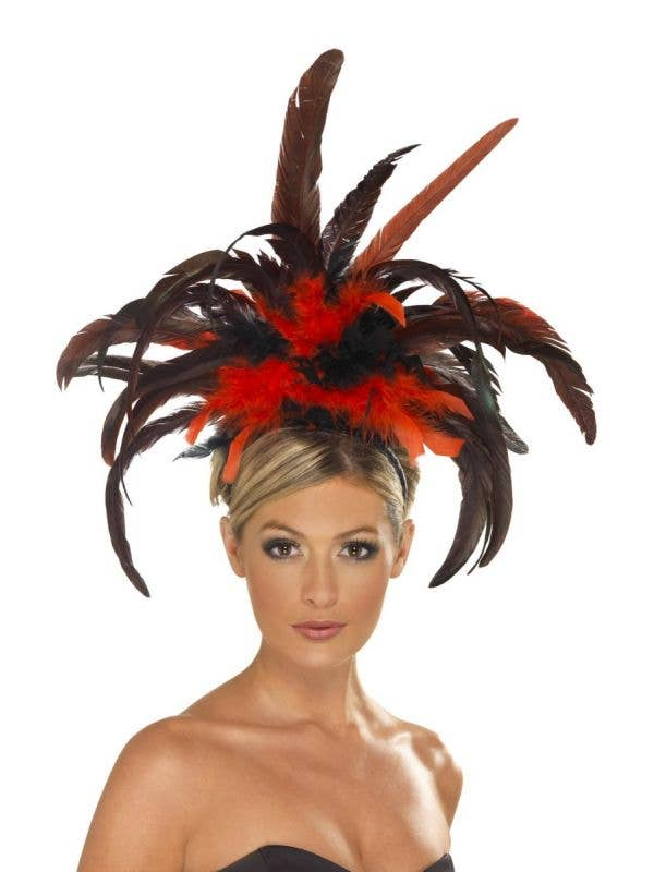 Burlesque Women's Showgirl Feather Headpiece In Black And Red Costume Accessory Main Image