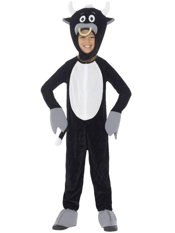 Boys Onesie Black Bull Animal Costume Main Image