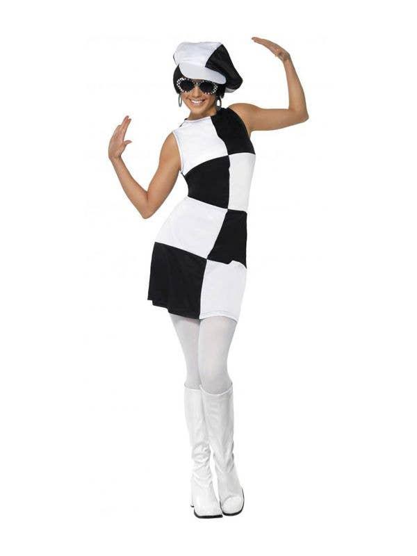 Women's 60's Mod Black and White Retro Costume Front View