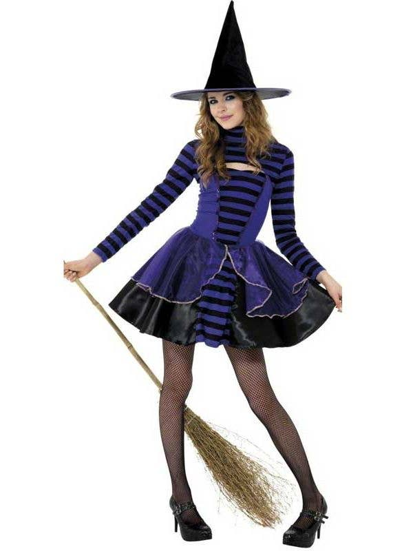Black and Purple Girl's Teen Witch Costume Front View