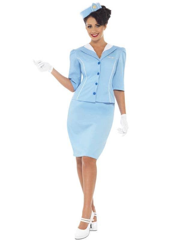 Retro 1950's Women's Sky Blue Air Hostess Costume Main Image