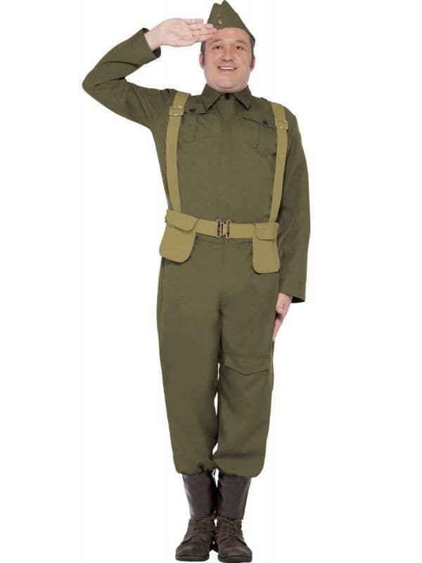 Mens 1940s Privarte Fancy Dress Costume Military Uniform - Front View