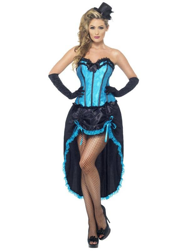 Women's Blue Burlesque Dancer Costume Front Image