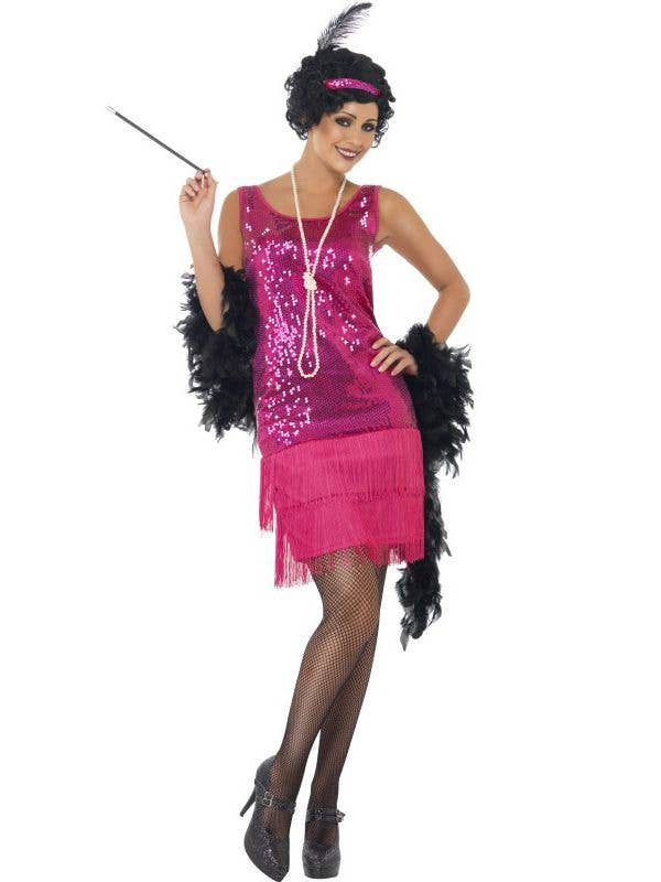 Hot Pink Sequinned Women s 1920 s Flapper Costume Front View 44b053b0a882