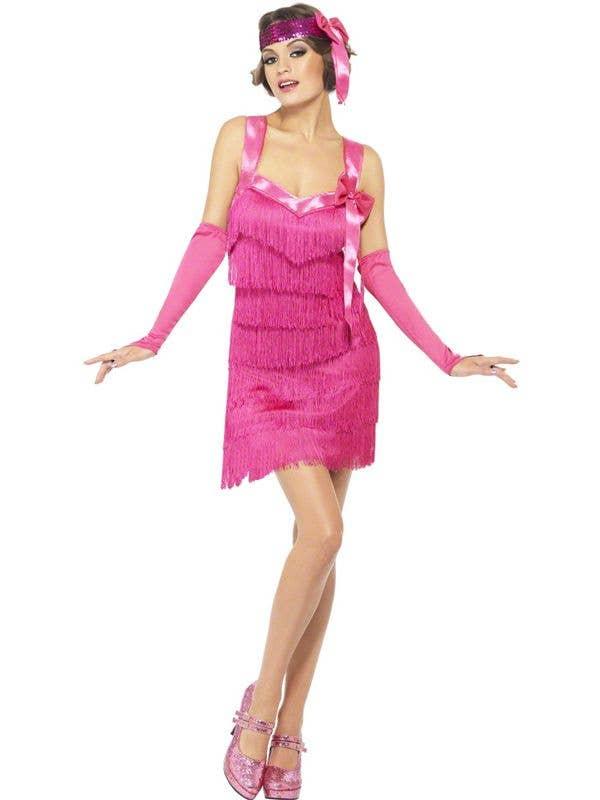 888e5e93e0 Hot Pink Women s 1920 s Flapper Costume Dress Front View