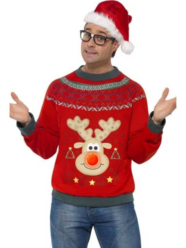 a79d05161790a Light Up Reindeer Ugly Christmas Costume Sweater