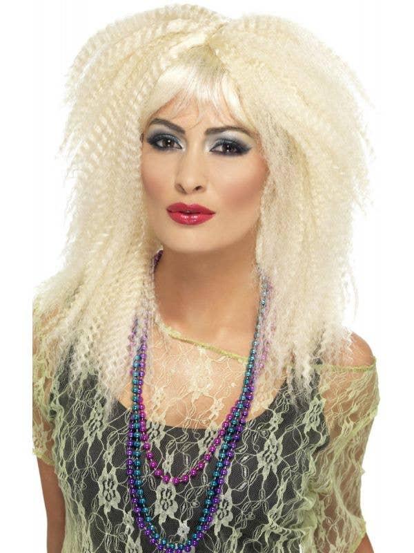 Women's Long Blonde Layered Trademark Retro 80's Crimped Costume  Wig Main Image