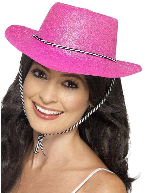 Women's Pink Glitter Cowboy Costume Accessory Hat Main Image