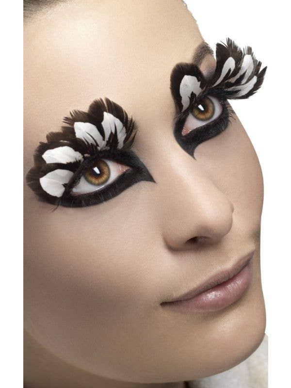 Brown and White Extravagant Feather Costume Eyelashes