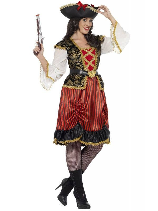 Curves Pirate Lady Women's Plus Size Fancy Dress Costume Front View