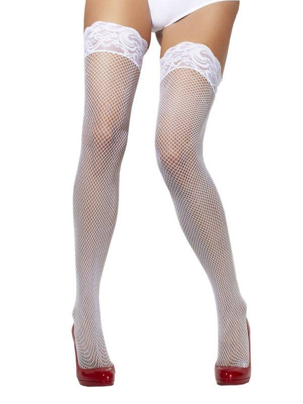 White Lace Top Stay Up Thigh High Fishnet Stockings Front View