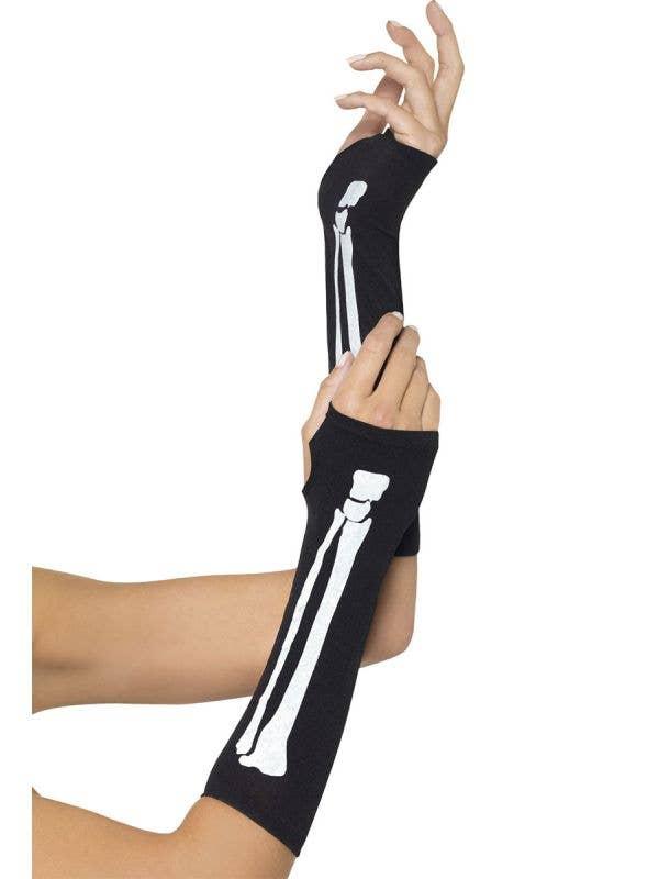 Skeleton Print Costume Gloves - Long Black Skeleton Print Gloves