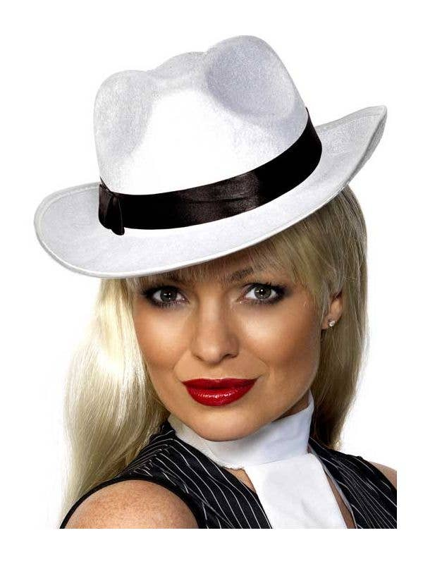 White Velour 1920 s Gangster Hat with Black Band 66487d46920