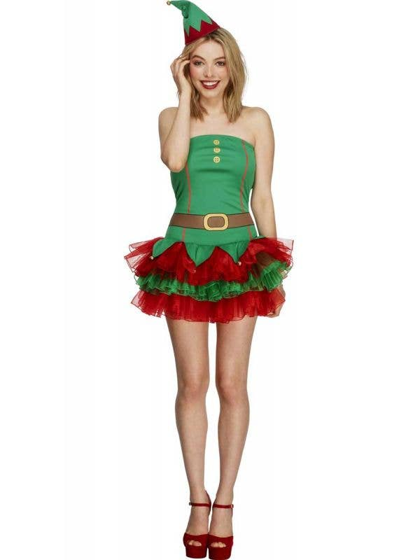 Sexy Christmas Elf Women's Fancy Dress Costume Front View