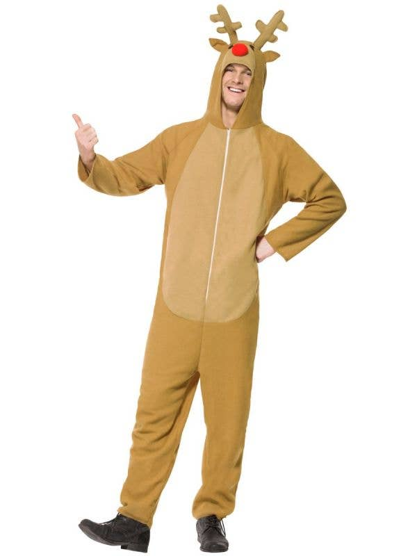 Men's Rudolph the Reindeer Christmas Fancy Dress Costume Front Image