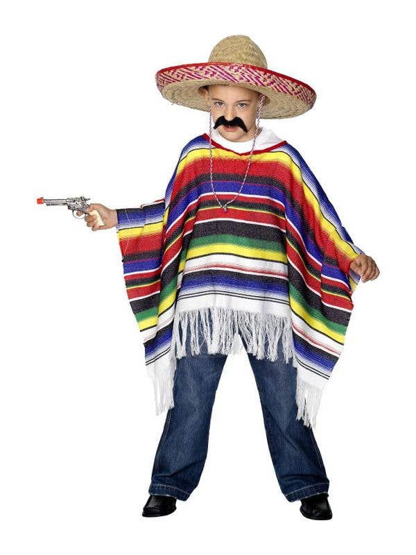 064408e78a3 Boy s Mexican Colourful Poncho International Fancy Dress Front