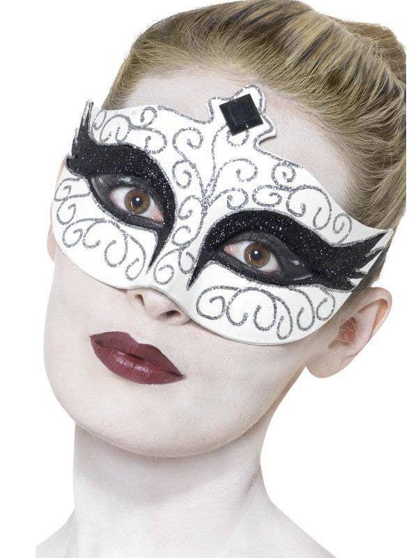 White And Black Glitter Swirls Women's Masquerade Costume Mask Main Image