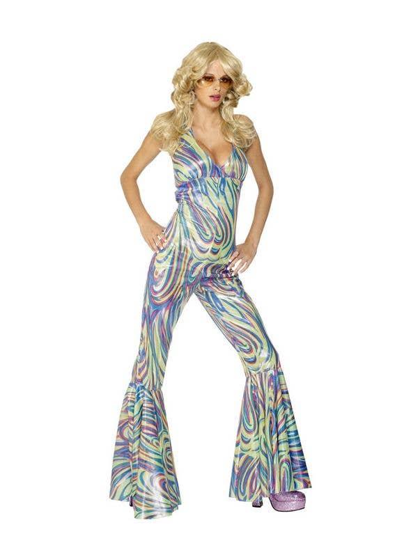97ad9602949 Metallic Women s Disco Jumpsuit Costume Front View
