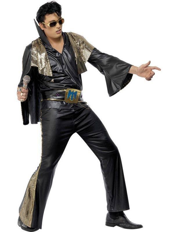 Elvis Presley Men s Black King Of Rock Costume Front 384ac44a9b24