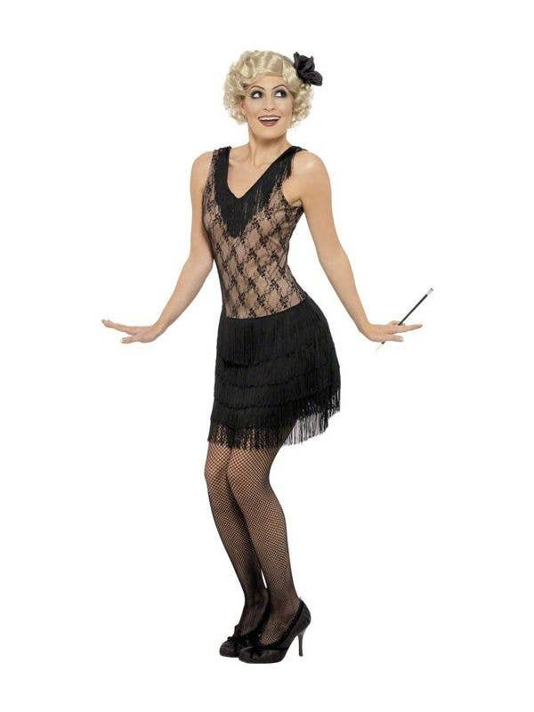 1920's Women's Black Mesh and Fringe Flapper Costume with Matching Headband - Front