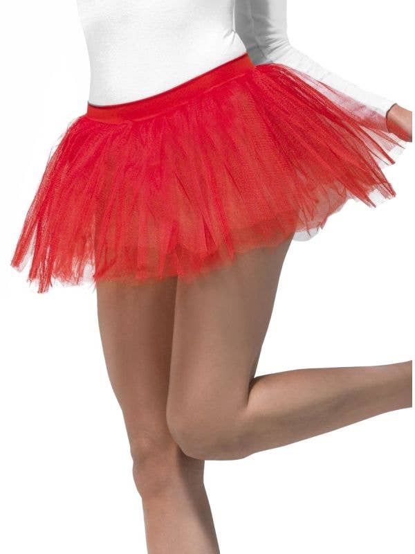 Smiffys Red Tulle 4 Layer Costume Petticoat Tutu Skirt- Main Image