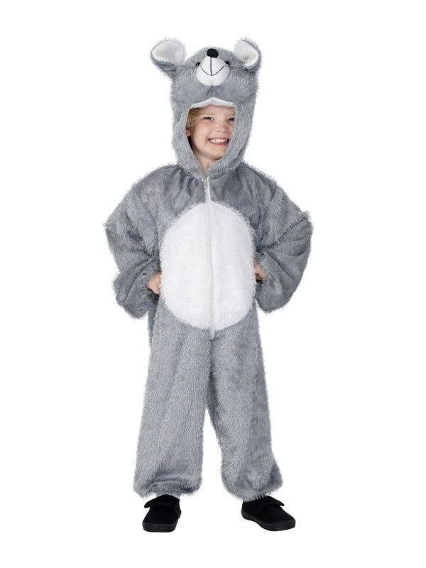 Kid's Grey Mouse Animal Onesie Book Week Costume Front