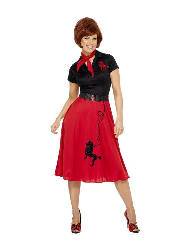 Women's Rockabilly Red and Black Poodle Skirt Costume Front