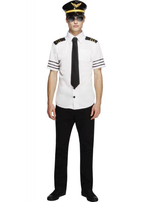 Men's Flight Captain Pilot Fancy Dress Costume Front