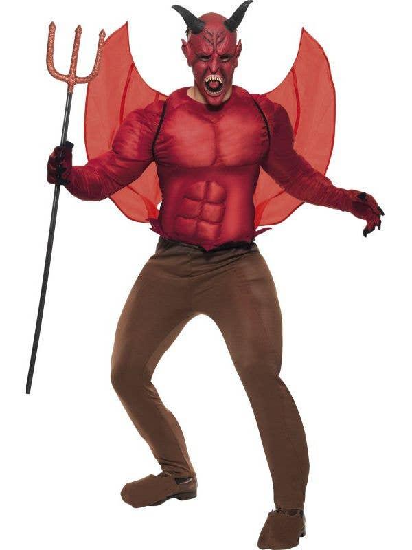 mens devil halloween costume muscle chest red devil costume