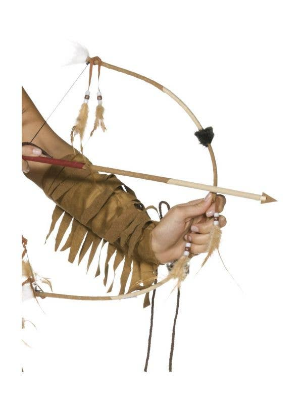 Native Indian Wild West Bow And Arrow With Feathers Costume Weapon Accessory