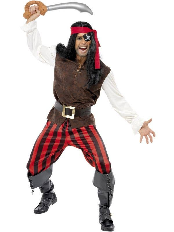 Red And Brown Men's Pirate Ship Mate Fancy Dress Costume