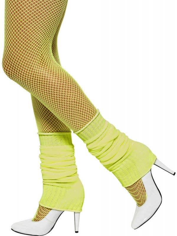 Women's 1980's Neon Yellow Costume Leg Warmers