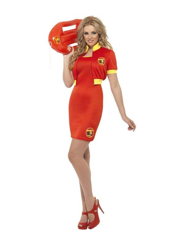 48b138f297a Women s Baywatch Red Fancy Dress Costume Front View
