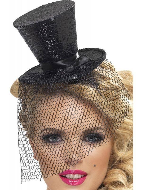 Women's Black Glitter Burlesque Mini Top Hat Costume Accessory Main Image