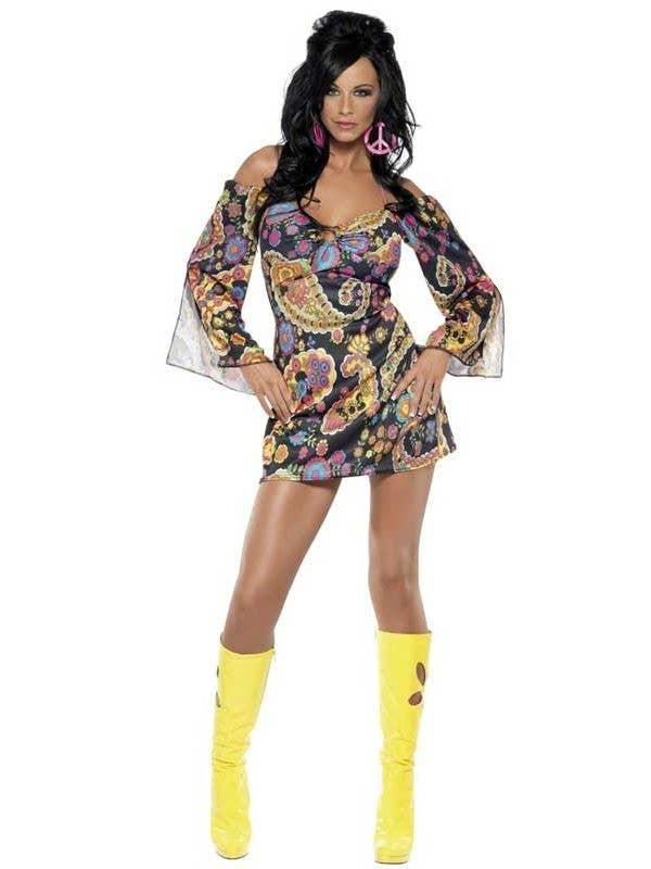 9e850b39a88 Women s 60 s Flower Child Hippie Mini Dress Costume Front
